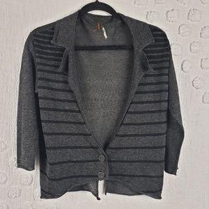Free People Grey & Black 3/4 Sleeve Cardigan  xs